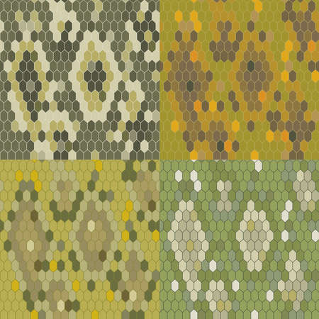 python: Set 4 snake skin texture. Seamless pattern python. Vector illustration