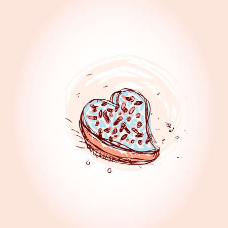 Cake in the shape of heart Hand drawn sketch on pink background. vector illustration