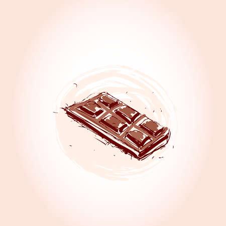 milk chocolate Hand drawn sketch on pink background. vector illustration Illustration