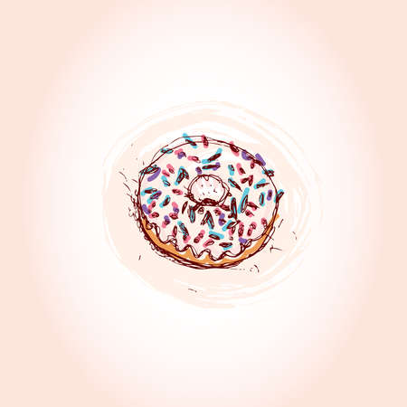 Donut with white cream Hand drawn sketch on pink background. vector illustration Vector
