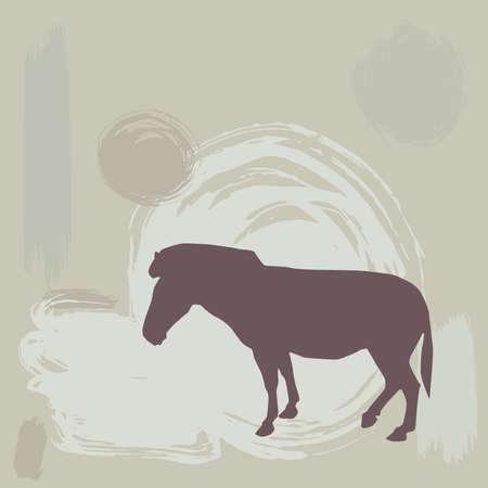 Zebra silhouette on grunge background. vector illustration Vector