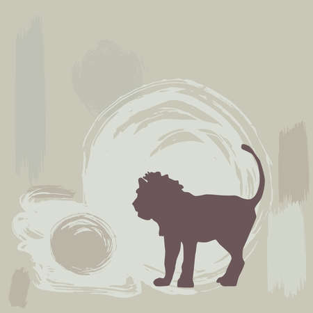 lion silhouette: lion silhouette on grunge background. vector illustration