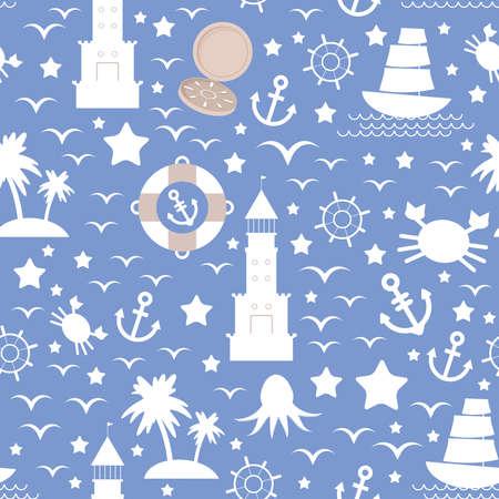 Set white sea icon on blue background. Seamless pattern vector 矢量图像