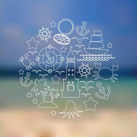 Set icons on seascape background. Vector illustration