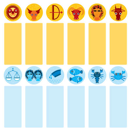 Funny blue and orange zodiac sign icon set astrological, vector astrology Vector