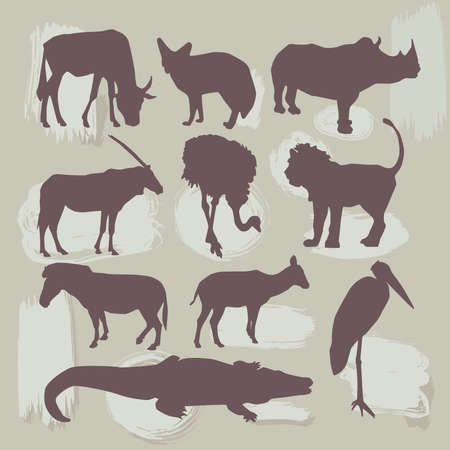 Set of African animals. Silhouette vector illustration Vector