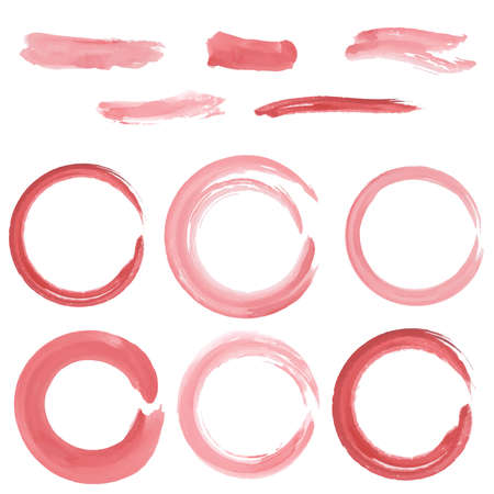 strokes: set of grunge circle brush strokes. Watercolor. vector background Illustration