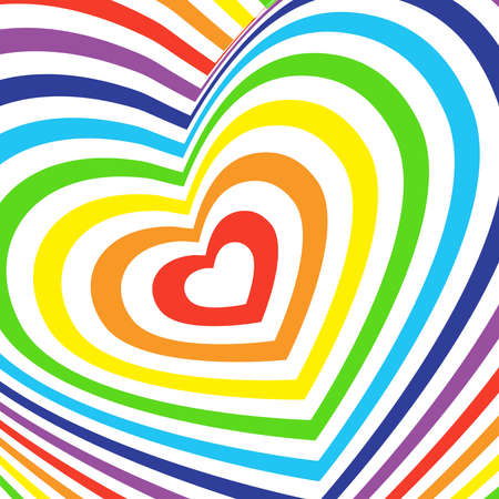 shiny hearts: Three-dimensional volumetric valentines day card colorful rainbow on white background. vector
