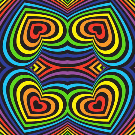 Three-dimensional volumetric seamless pattern colorful rainbow on black background. vector
