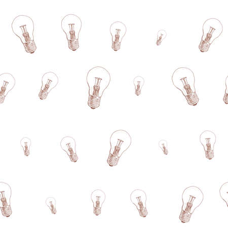 light bulb doodle seamless pattern on white background vector Vector