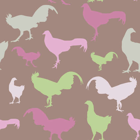 Seamless pattern with chickens and roosters, green, lilac vector Vector