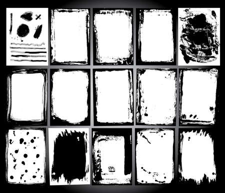 Abstract grunge frame set zwarte en witte achtergrond template vector