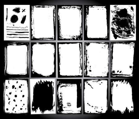 bordes decorativos: Marco abstracto del grunge establecer fondo blanco y Negro plantilla vector Vectores