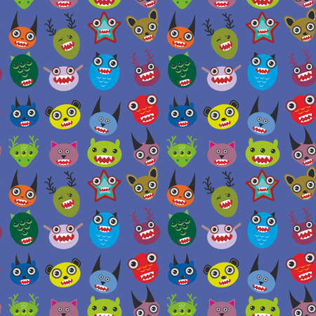 Cute cartoon Monsters Set on blue background. seamless pattern vector illustration Vector