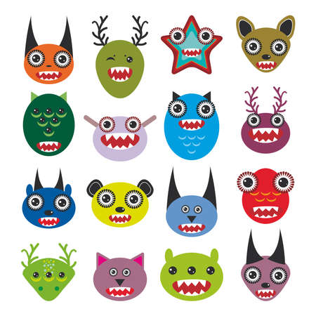 Cute cartoon Monsters Set. Big collection on white background. vector illustration Vector