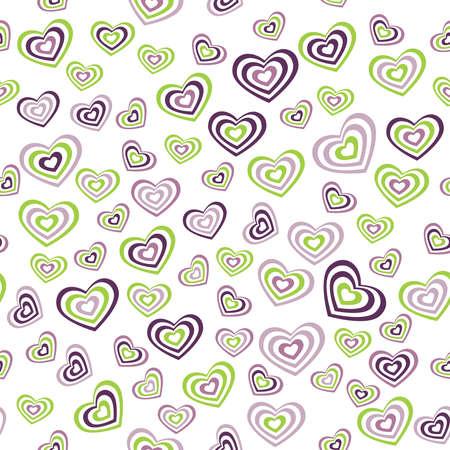 verde y morado: Seamless verde coraz�n patr�n, p�rpura sobre fondo blanco. boda ceremonia de matrimonio D�a de San Valent�n. Ilustraci�n vectorial Vectores