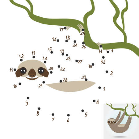 arboreal: numbers game. dot game Three-toed sloth on green branch on white background. vector illustration Illustration