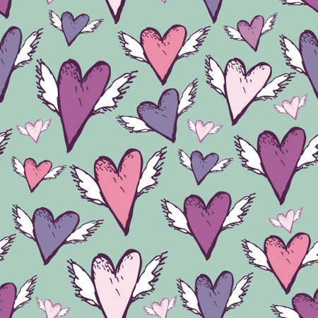 Wedding romantic seamless hearts with wings sketch retro style. vector Vector