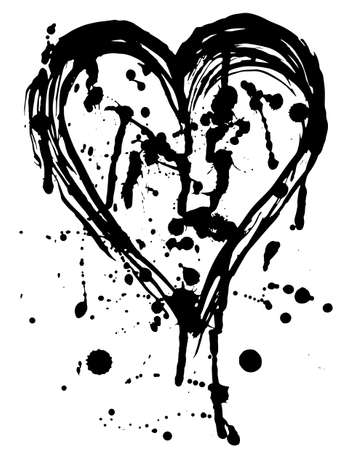 Heart drops of paint black sketch. Vintage Poster. vector