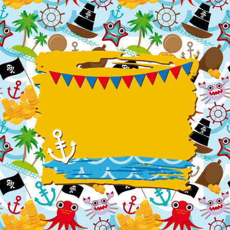 Vintage scrap nautical card with frame, anchor and pattern with sea animals, boats pirates. Vector Vector