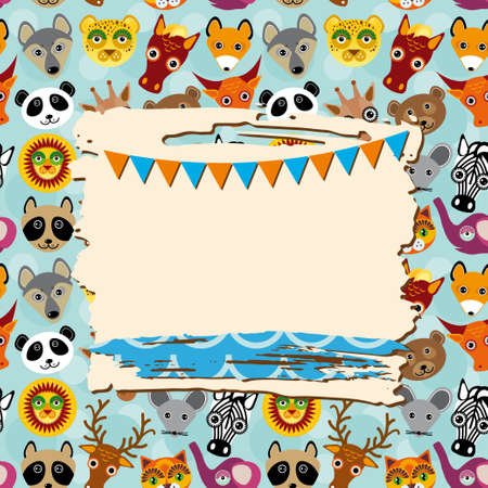 Vintage scrap template card with photo frame and animals background, pattern. Vector Vector