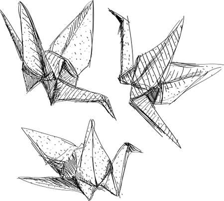 Origami paper cranes set sketch. The black line on white background.Vector Ilustração