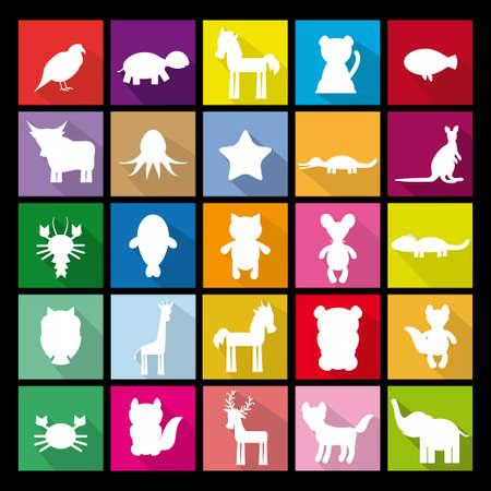 unicorn fish: Set silhouettes of animals. Flat icon. vector