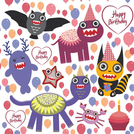 happy birthday Funny monsters party card design. seamless background vector illustration Vector