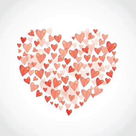 hintergrund liebe: Set Rot gl�nzend gl�nzenden Herzen auf wei�em Hintergrund. Liebe, Hochzeit und Trauung Valentinstag feiern Konzept. Vektor-Illustration