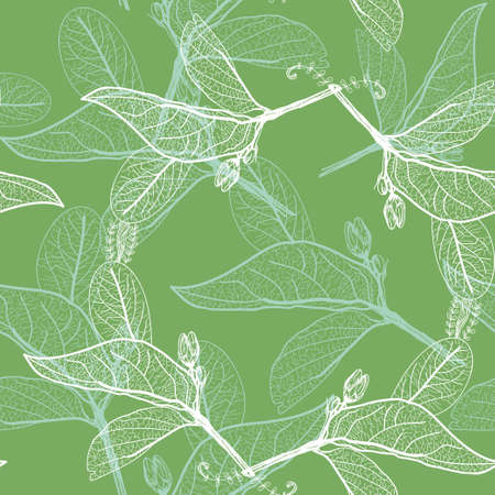 Leaves contours on green background. floral seamless pattern, hand-drawn. Vector illustration
