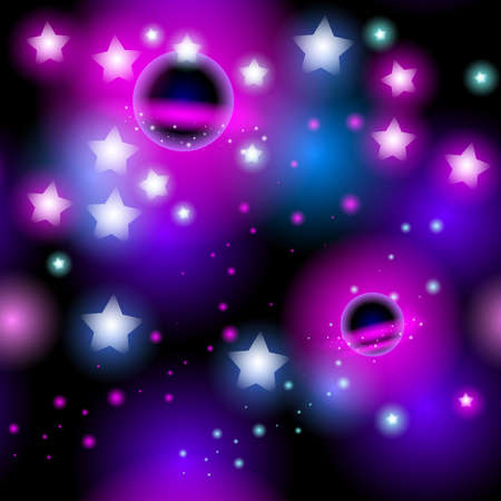 Abstract seamless pattern space with stars. Vector illustration Vector