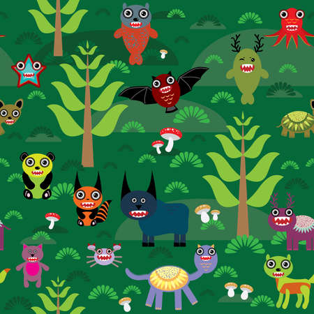 Cute cartoon Monsters seamless pattern on green e background. vector illustration Vector