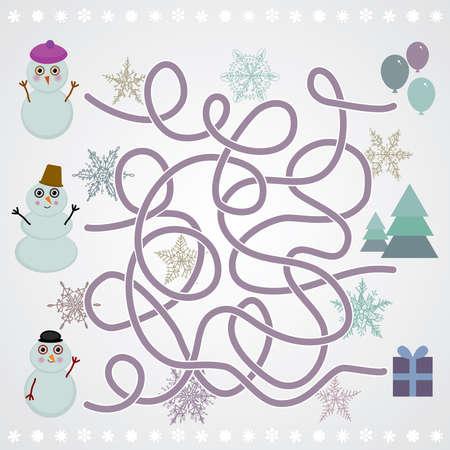 Snowmen labyrinth game for Preschool Children. vector illustration Vector
