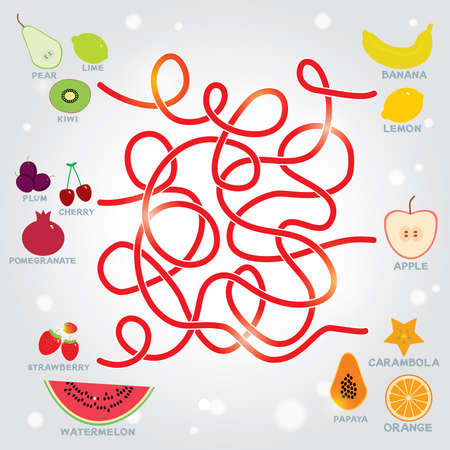 cartoon strawberry: fruit  labyrinth game for Preschool Children. vector illustration Illustration