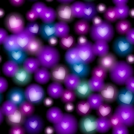 Abstract seamless pattern with hearts on black background. Vector illustration Vector