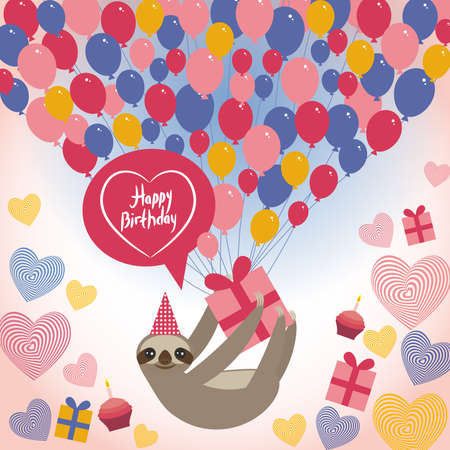 Three-toed sloth on white background. happy birthdaycard. balloons birthday cake, hat. Blue, pink, orange. Vector illustration