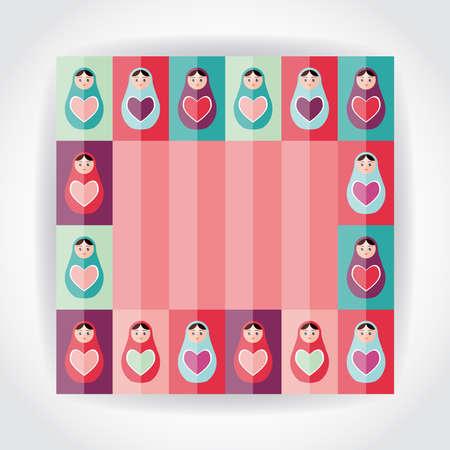 mu�ecas rusas: Piso rosa tarjeta del estilo, p�rpura, naranja, mu�ecas rusas Matryoshka del trullo con el coraz�n. Ilustraci�n vectorial