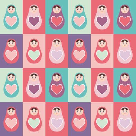 mu�ecas rusas: Seamless patr�n de color rosa, p�rpura, naranja, mu�ecas rusas Matryoshka trullo fondo con el coraz�n. Ilustraci�n vectorial Vectores