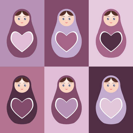 Seamless pattern Russian dolls matryoshka with hearts on purple background. Vector illustration Vector