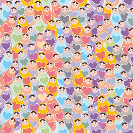 Seamless pattern pink, purple, orange, blue Russian dolls matryoshka background. Vector illustration