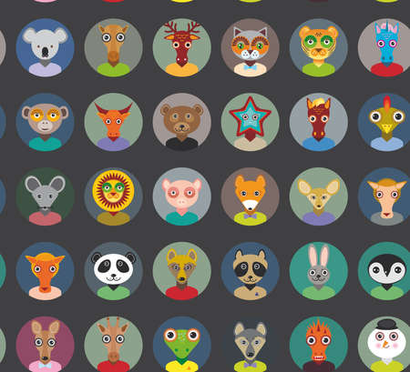 Seamless pattern animals faces circle icons set in Trendy Flat Style. zoo infographics design. Vector illustration Vector