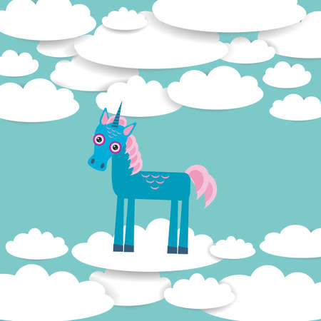 ร   ร   ร   ร  ร ยข  white clouds: Funny unicorn White clouds on blue sky background. Vector illustration Illustration