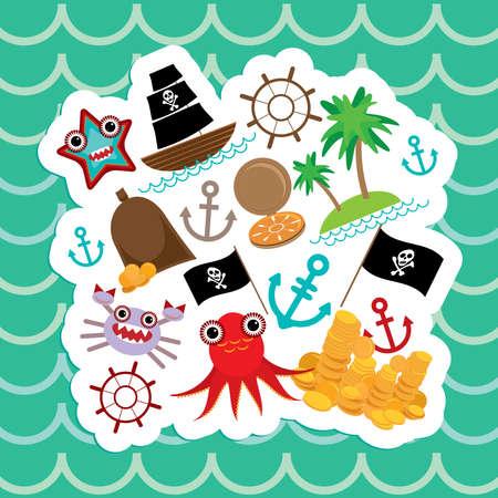 Card pirate. Cute party invitation animals design. Vector illustration Vector