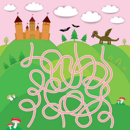 Fairy-tale castle, dragon, bats, forest labyrinth game for Preschool Children. Vector illustration Illustration