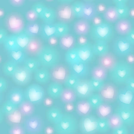 Abstract seamless pattern with hearts on blue background. Vector illustration Vector
