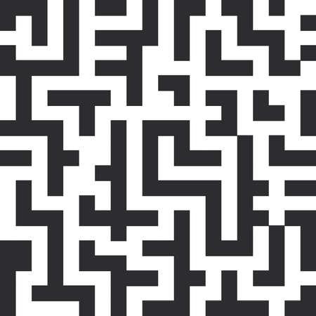 迷宮のシームレスなパターン。白い背景に黒い線。ベクトル図