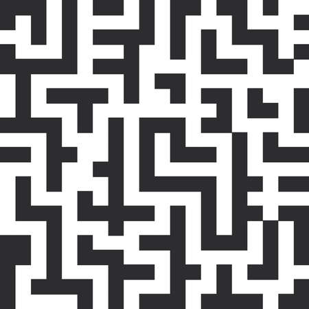 Labyrinth seamless pattern. The black lines on white background. Vector illustration Çizim