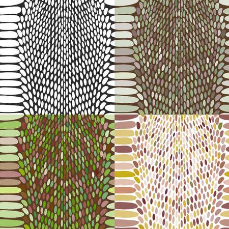 exoticism: Snake skin texture set. Seamless pattern black on white background. Vector illustration
