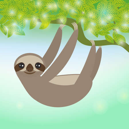 arboreal: Three-toed sloth on green branch. Vector illustration