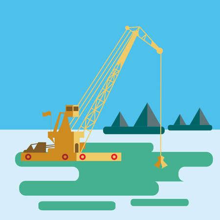 flat Huge crane barge Industrial ship that digs sand marine dredging digging sea bottom. Vector illustration Çizim